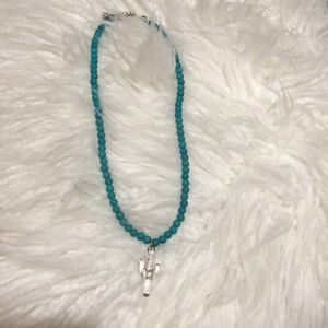Turquoise cactus necklace.